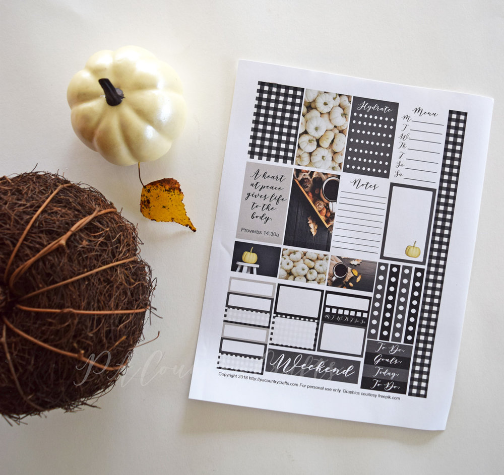 Free printable planner stickers for the classic Happy Planner- black and white fall