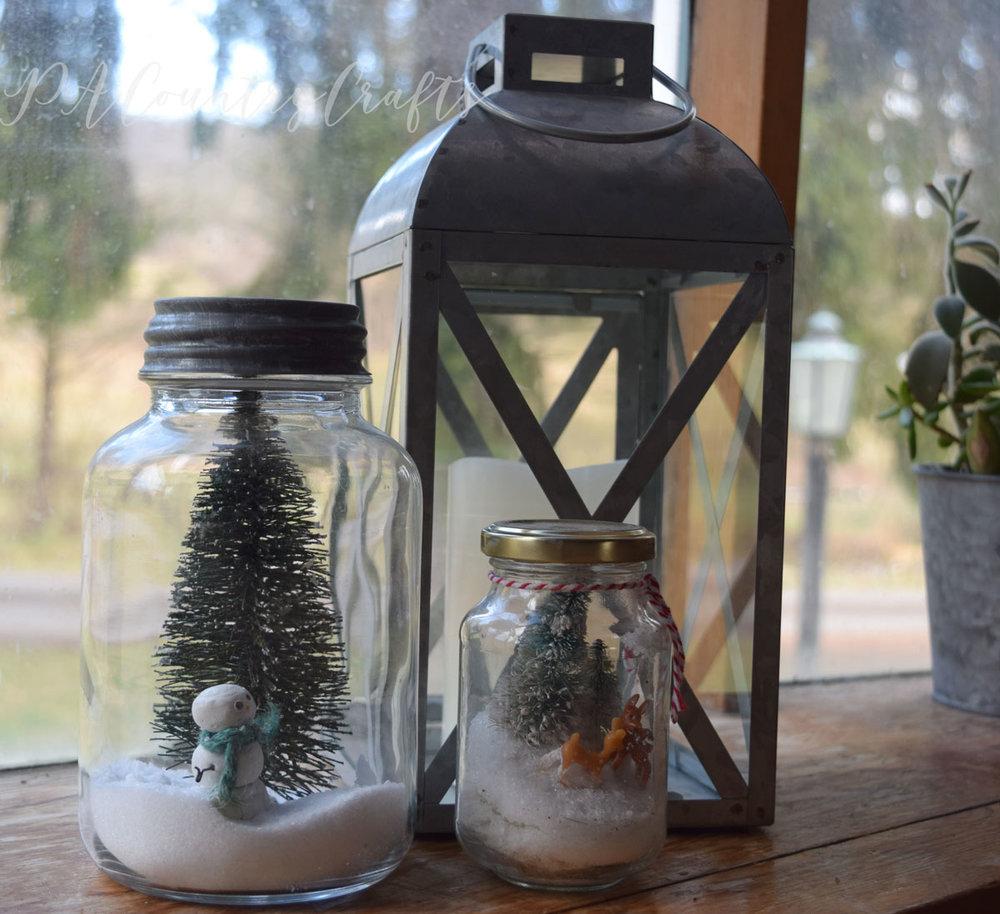 Snow scene mason jars