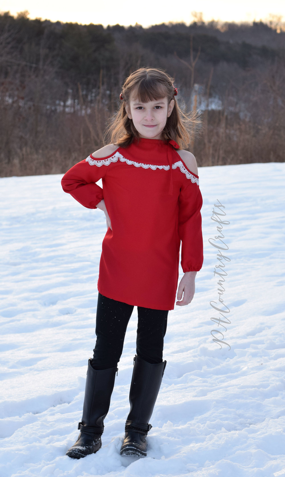 Sofiona Designs Lynx Tunic in red crepe satin with crochet lace trim