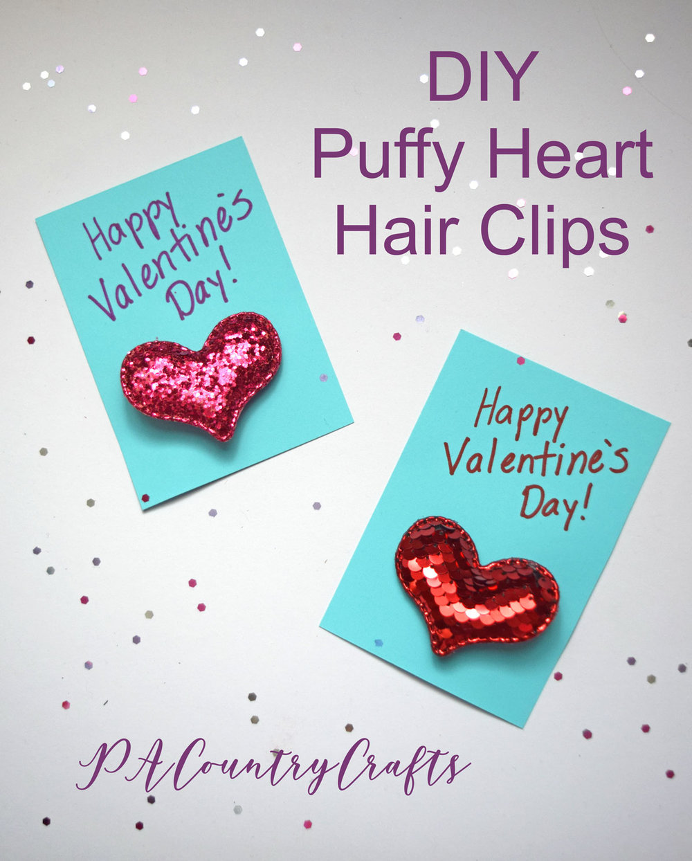 DIY Puffy Heart Hair Clips