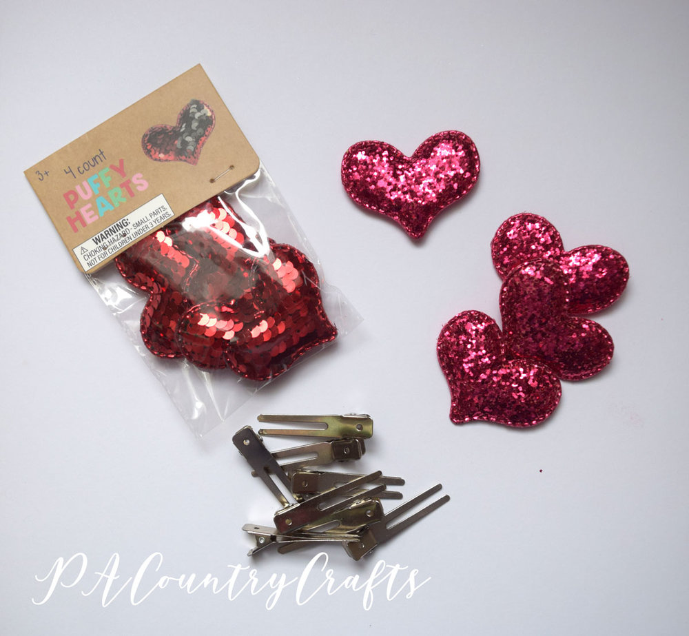 Target Dollar Spot hearts make cute hair clips!
