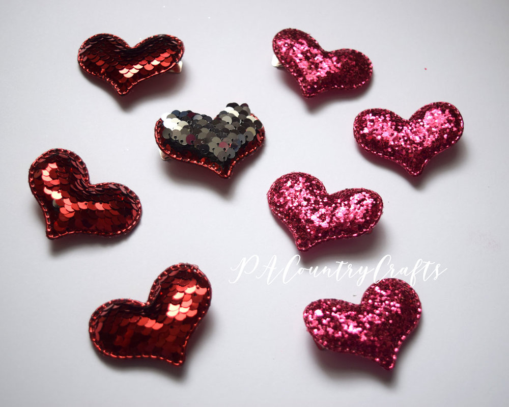 Glitter and sequin heart hair clips- 5 minute craft project!