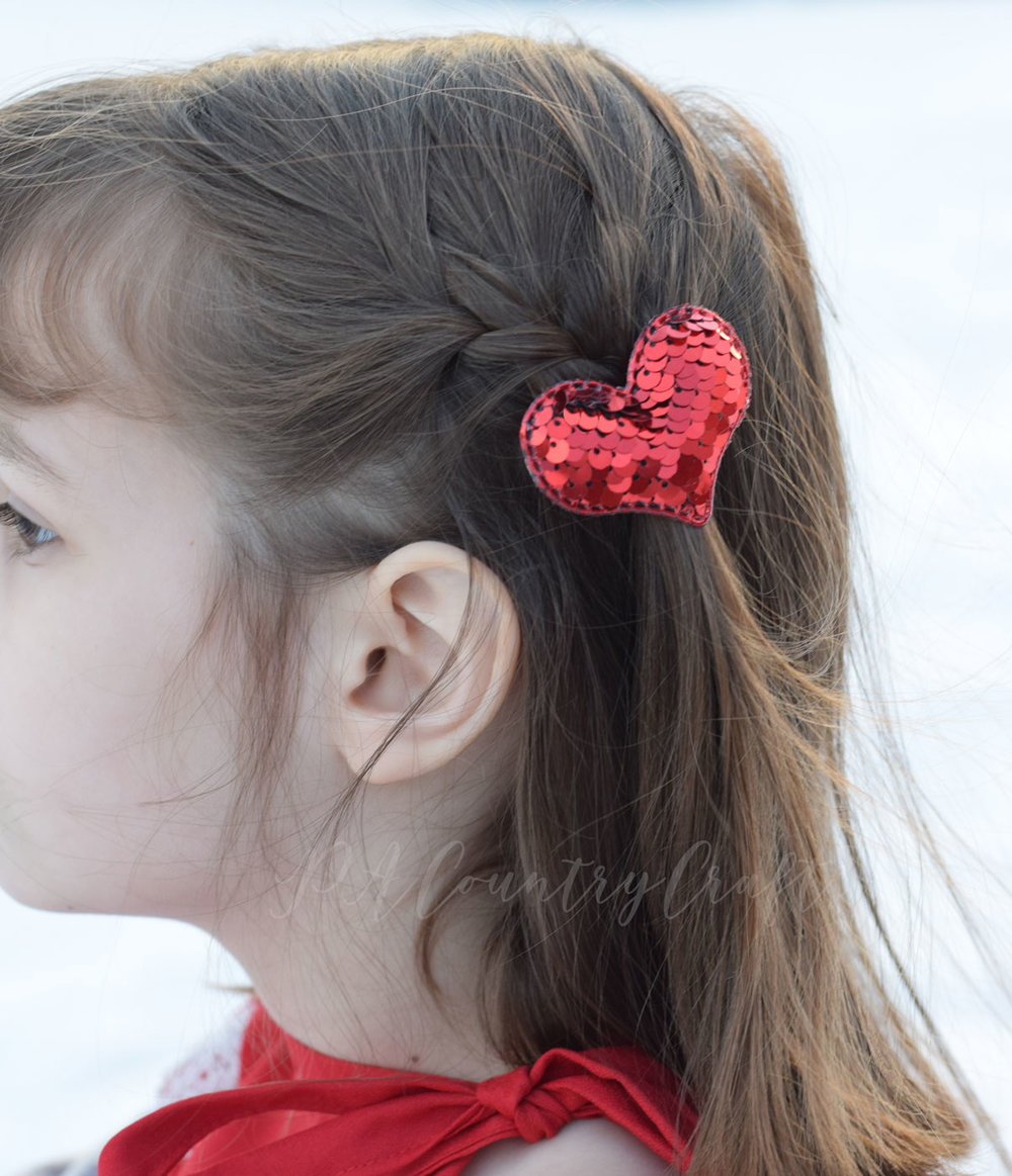 Red flip sequin heart hair clip- simple DIY project!