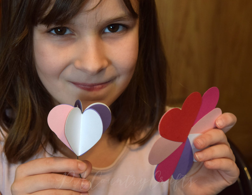 Valentine paper heart flowers