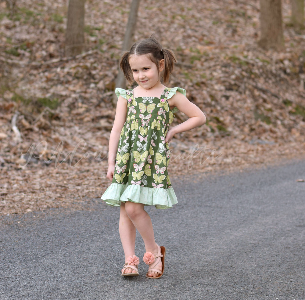 Green butterfly dress made from vintage 1973 sewing pattern