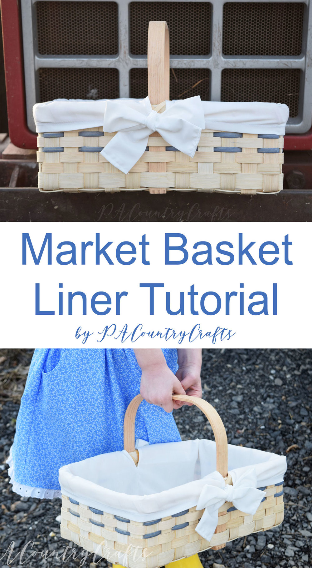 Sewing tutorial for a market basket with a handle.