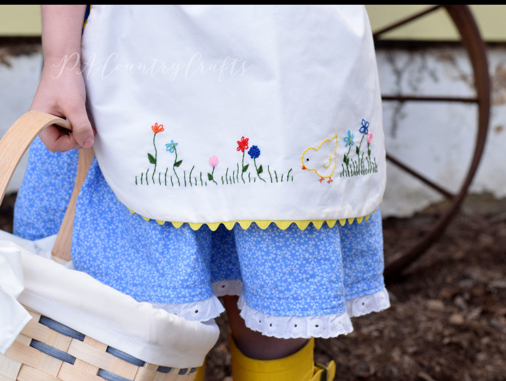 vintage style half apron with embroidery