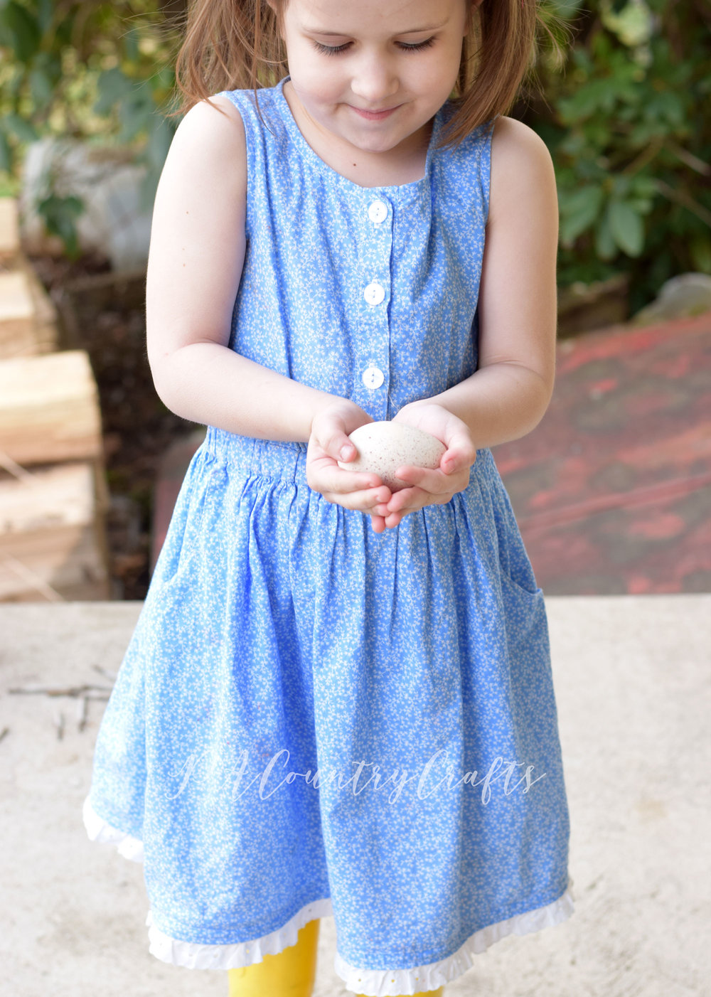 seed dress pattern made with a vintage, farm girl style