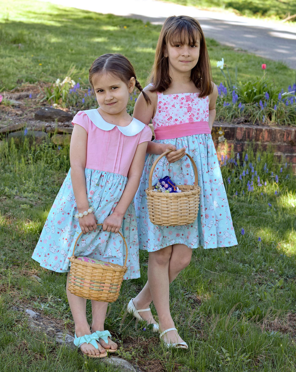 Easter dresses made with Walmart bunny fabric