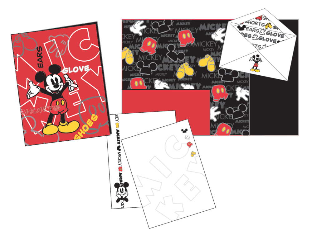 """Mickey Body Parts"" stationery set"