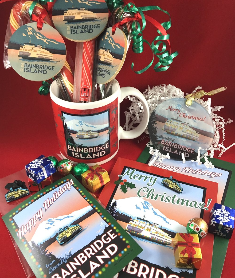 Holiday-themed Bainbridge Island souvenir merchandise is sold by me, direct to consumer, as well as wholesale to downtown shops on the island.