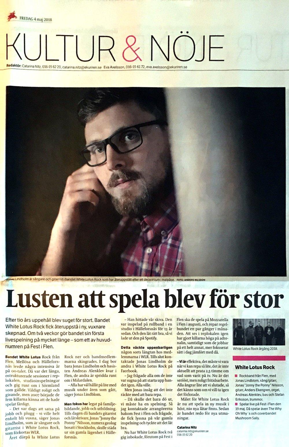 Eskilstuna Kuriren - Interview in Eskilstuna Kuriren 2018-05-04.