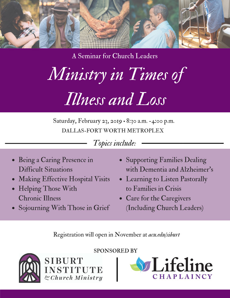 Flyer for Ministry in Times of Illness and Loss workshop