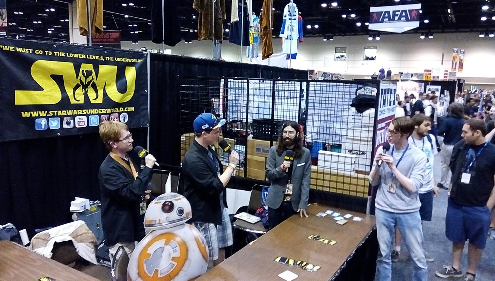 Dominic and Ciaran host a live episode of The Star Wars Underworld Podcast at Star Wars Celebration Orlando in 2017.  (L-R) Ben Hart, Dominic, Chris Seekell, Ciaran.  Photo Credit: Daniel Georgiev.