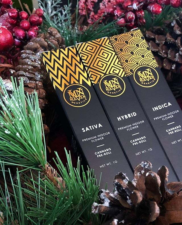 'Tis the season for giving🎄🎅 . . #mavencannabis #prerolls #indica #hybrid #sativa #packagingdesign #craftcannabis #californiacannabis #weedstagram #cannaculture #cannabiscommunity #caligrowers #luxurycannabis #highlife #joints #preroll #jointlife #prerolledjoints #welovewhatwedo #happyholidays