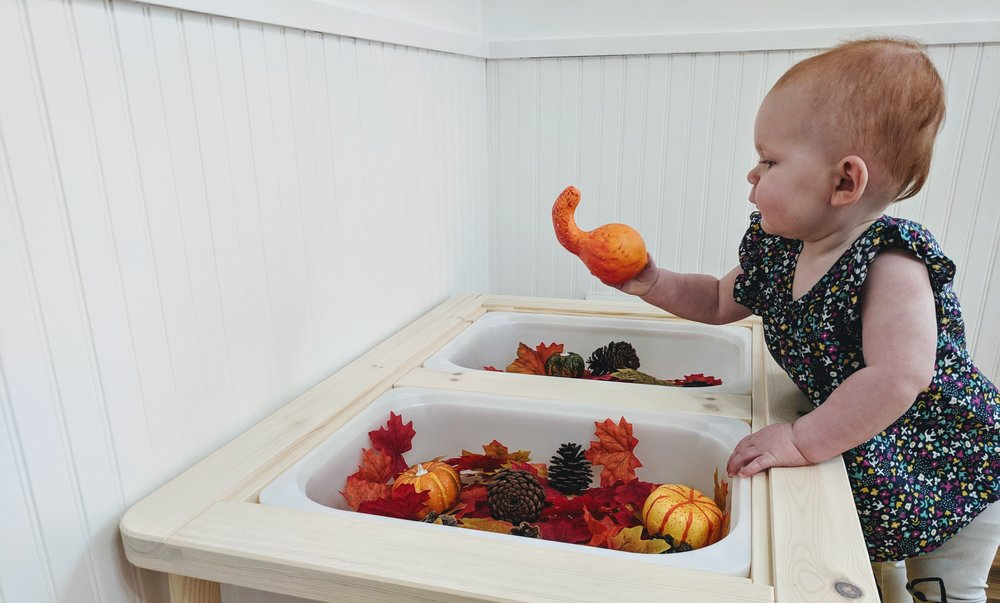 Fall Sensory Play at 15 Months