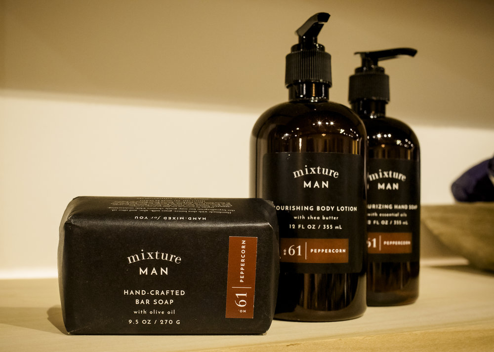 Mixture Man Bar Soap $17, Mixture Man Body Lotion $23, Mixture Man Hand Soap $17