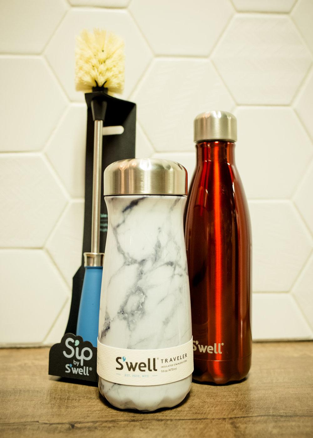 S'Well Traveler $35, S'Well bottle $35, Sip by S'Well Bottle Cleaner $20