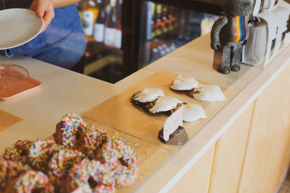 marshmallow dipped schmookie and confetti cruller