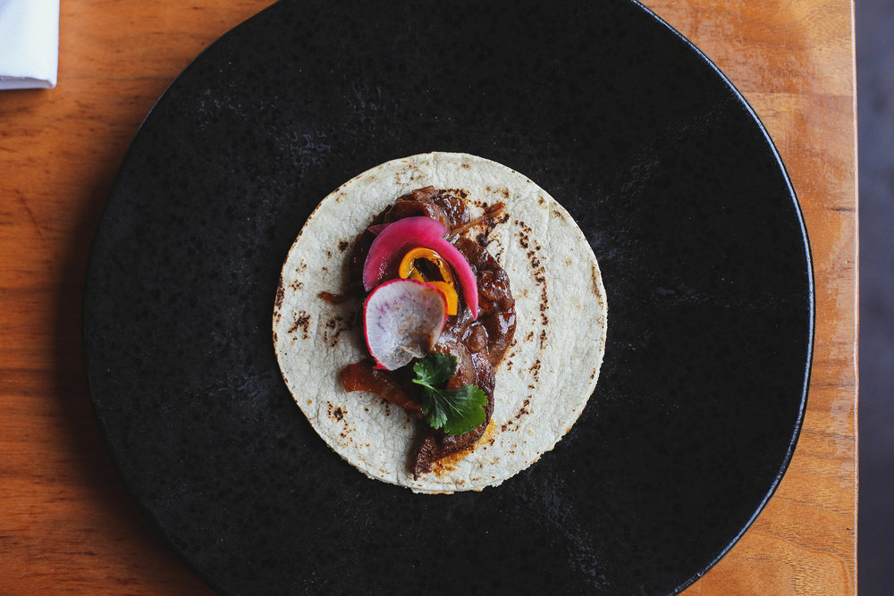 Beef tongue taco with 50 year old Mole by Marcela
