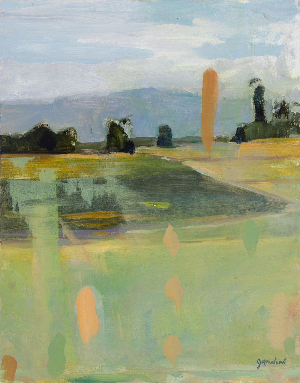 Partially Cloudy with a Chance of Floaters    Oil on Board 11x14 inches
