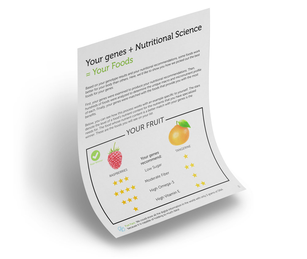 Finding Your Foods - Foods of similar nutrient compositions are compared against each other and evaluated for how well they align with your specific nutrient needs. The foods that are most relevant to your genetic makeup end up in Your Food list.