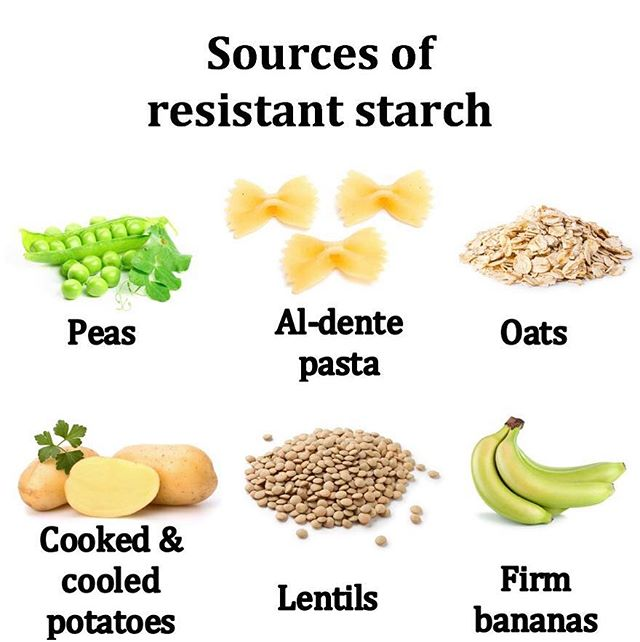 Let's talk fibre! 💩 Resistant starch is a type of fibre that acts as a prebiotic. Put simply - it's food for the good bacteria in your gut 🍌 It also helps to keep the lining of your bowel nice & healthy 😌 Here's a few easy ways to up your intake of resistant starch 👍🏼