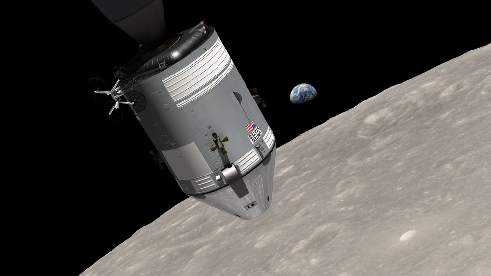 "- Artist's rendering of Apollo 8 and ""Earthrise"""