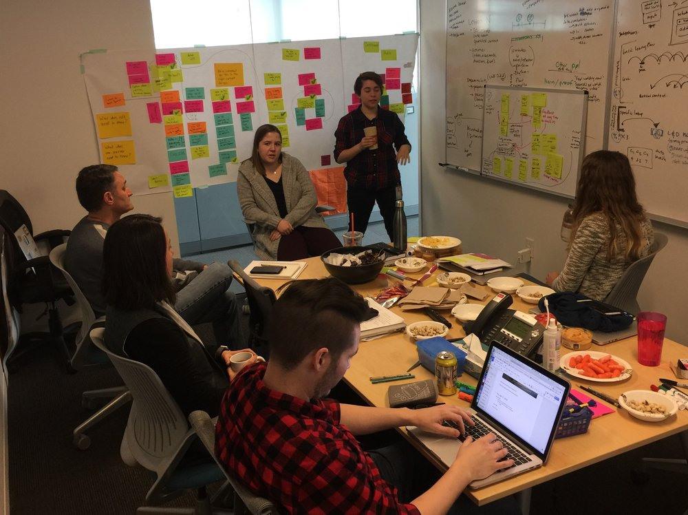 Ideating / prototyping can be messy, but colorful. Make sure you have a notetaker capturing every word.
