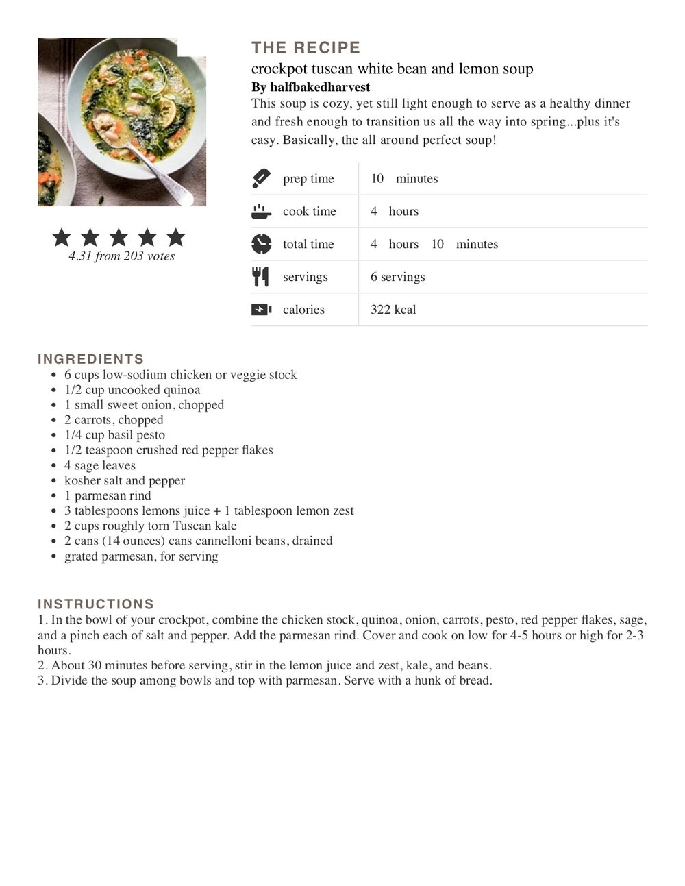 Some of the most popular stories on Becca's blog speak to cooking, so here's one of her favorite  recipes .