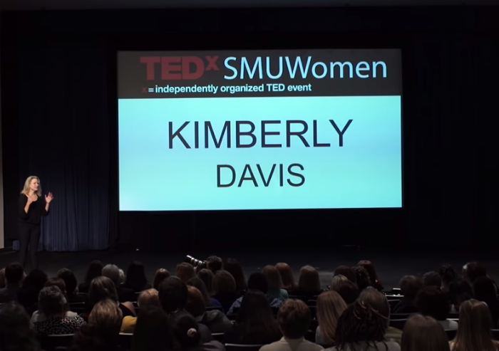 Kimberly speaking at the SMU-sponsored TEDx conference in June, 2015.  https://www.youtube.com/watch?v=PgCBVGBHGx4