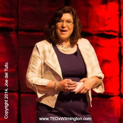 """Mary is show here delivering her TEDx talk,  """"Putting the Human Back Into Human Resources."""""""
