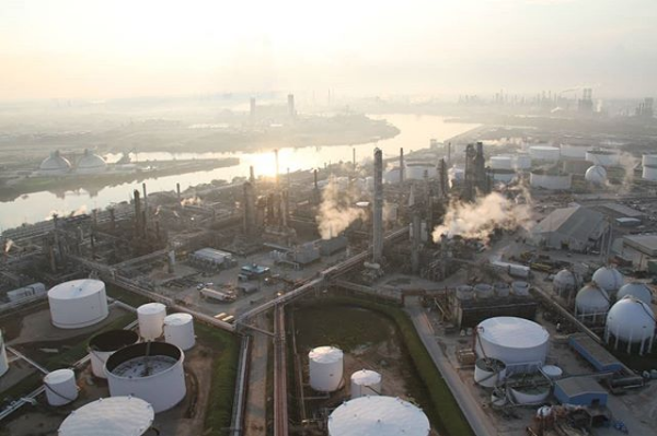 Chemical plants for the production of plastic feedstocks dominate the landscape of West Houston.