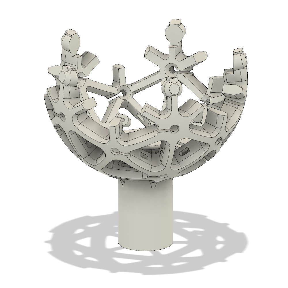 - Then I cut the sphere in half and added some points where it could connect back together with some set screws. This allows the top and bottom half of the totem to be separated to get me access to the insides.