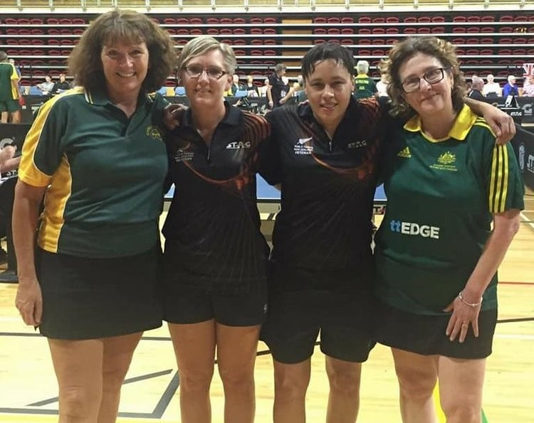 Service Co-ordinator Shelley Smith, second from left, representing New Zealand in Table Tennis