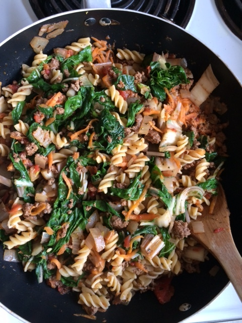 Silverbeet and Mince Pasta