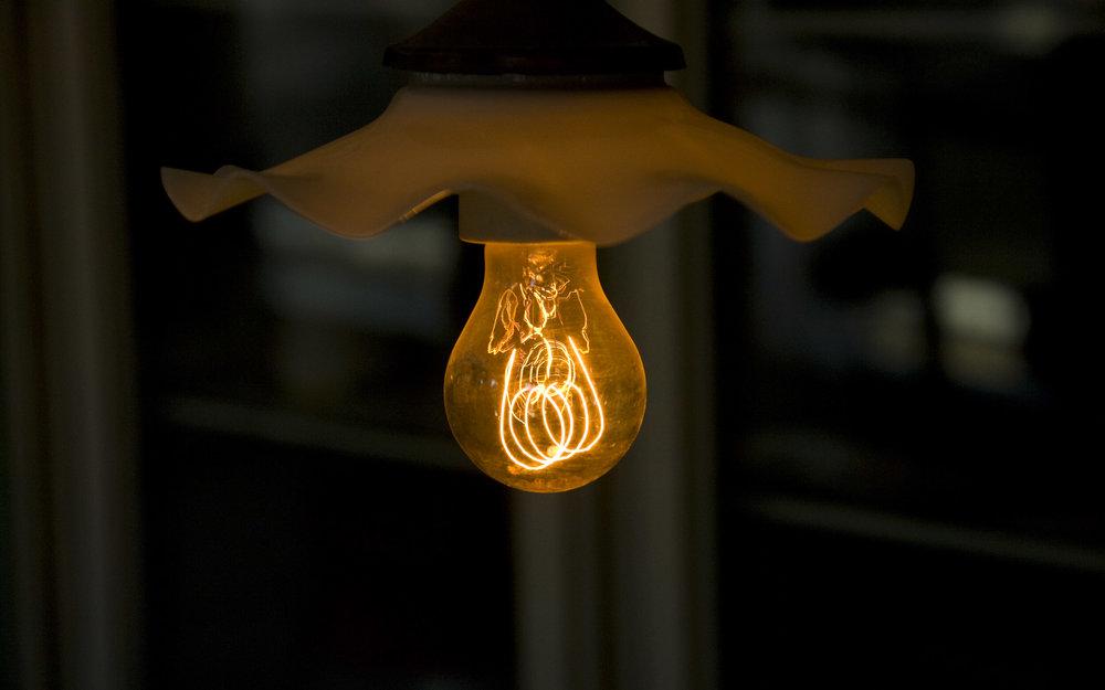 Carbon filament lamp, circa 1890, Aarhus Old Town Museum, Denmark
