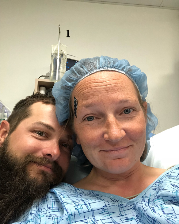 My biggest fan, Adam, supporting me when I had the D&C surgery on June 27th