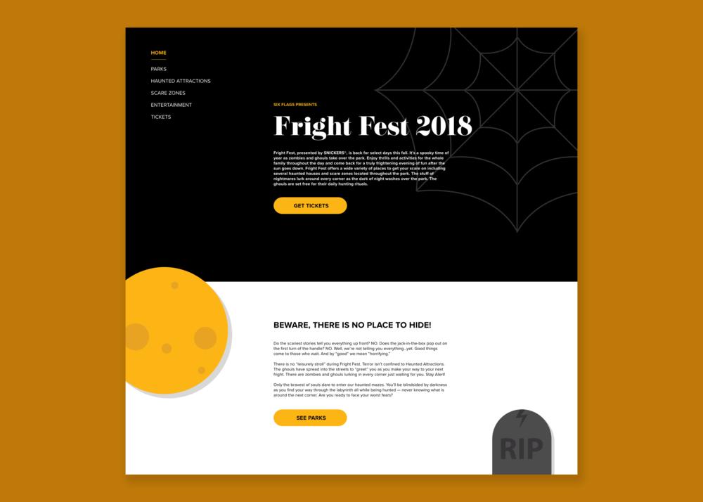 Concept for Six Flag's Fright Fest 2018 for Desktop  // October 3, 2018