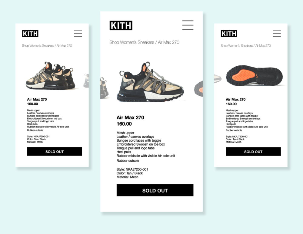 Concept for Kith's Mobile Web Product Page  // October 4, 2018