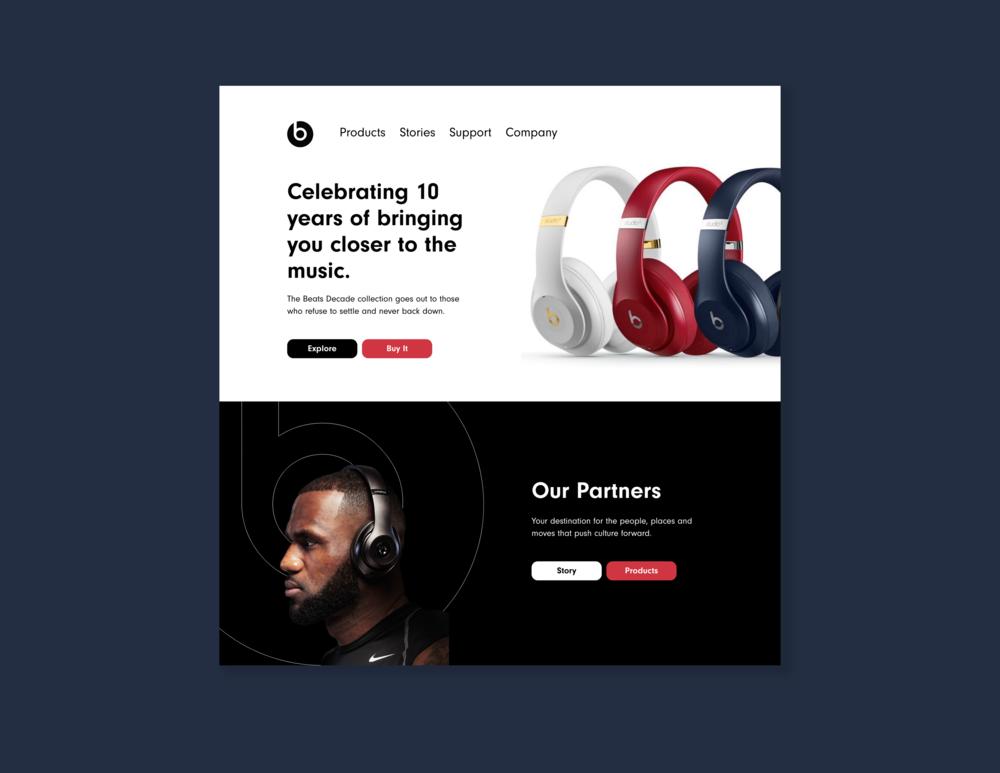 Concept for Beats main desktop web landing page  // October 8, 2018