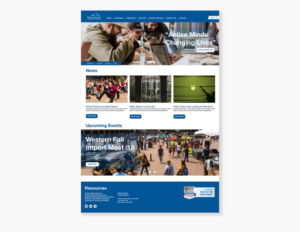 Concept for Western Washington University desktop website  // October 20, 2018