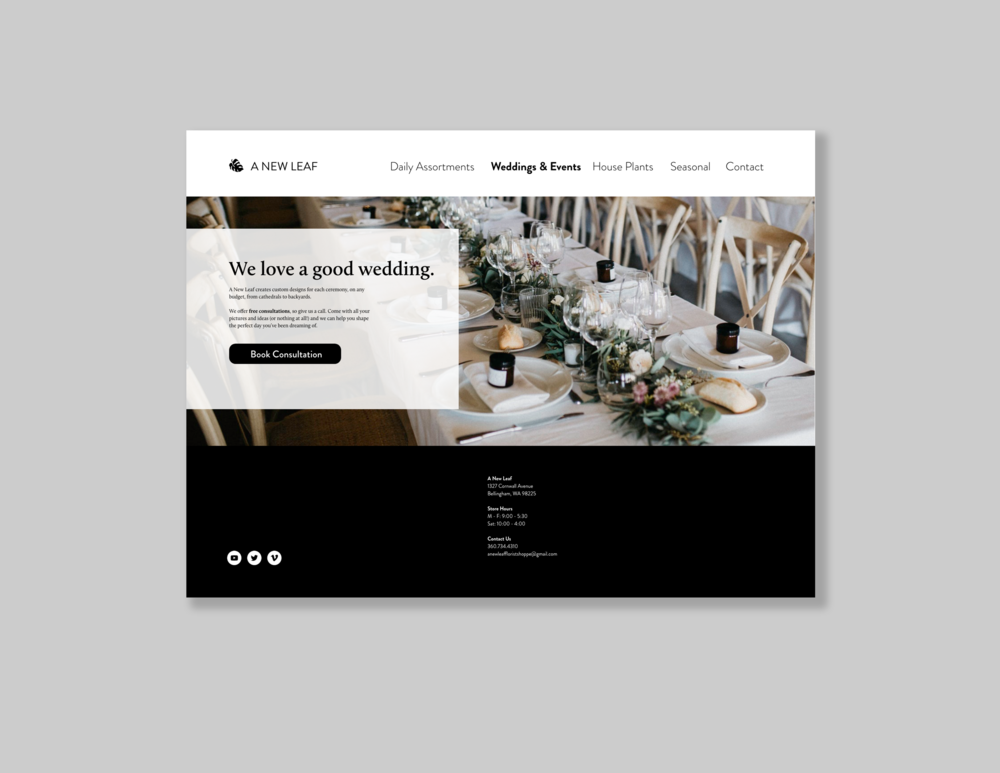 Weddings & Events Landing Page