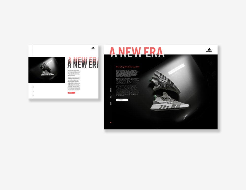 Concept for Adidas Brand Blog Landing Page  // December 24, 2018