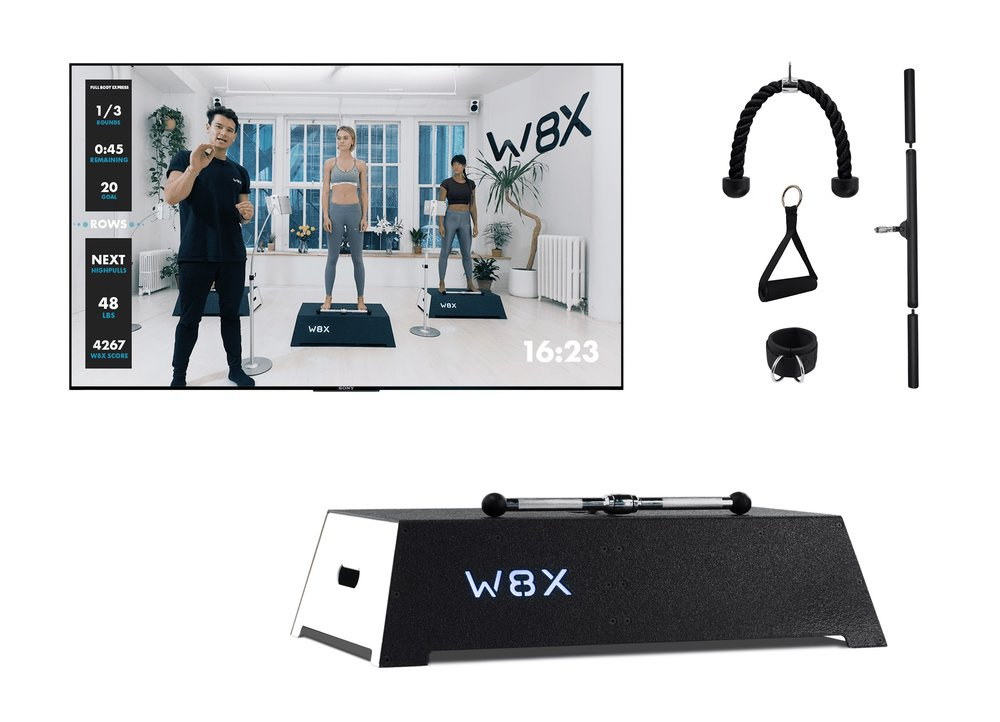 W8X  PLATFORM  $1494 - or $100/month for 15 month and 0% APRIncludes tablet and tablet stand as well as the essential attachments (barbell, handles and rope).Reservations will be fulfilled on a first come, first serve basis.