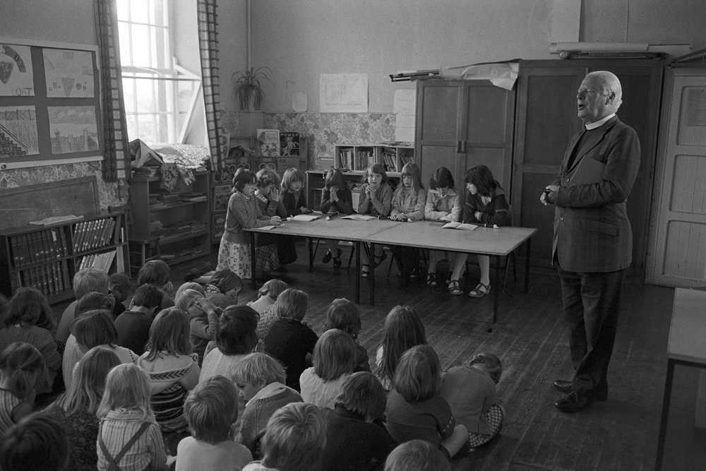 Morning prayers, Bluecoats School, Torrington, 1978