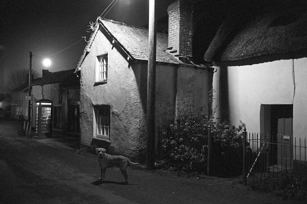 Fore Street with dog and full moon, 6.0 pm, Dolton, 1979