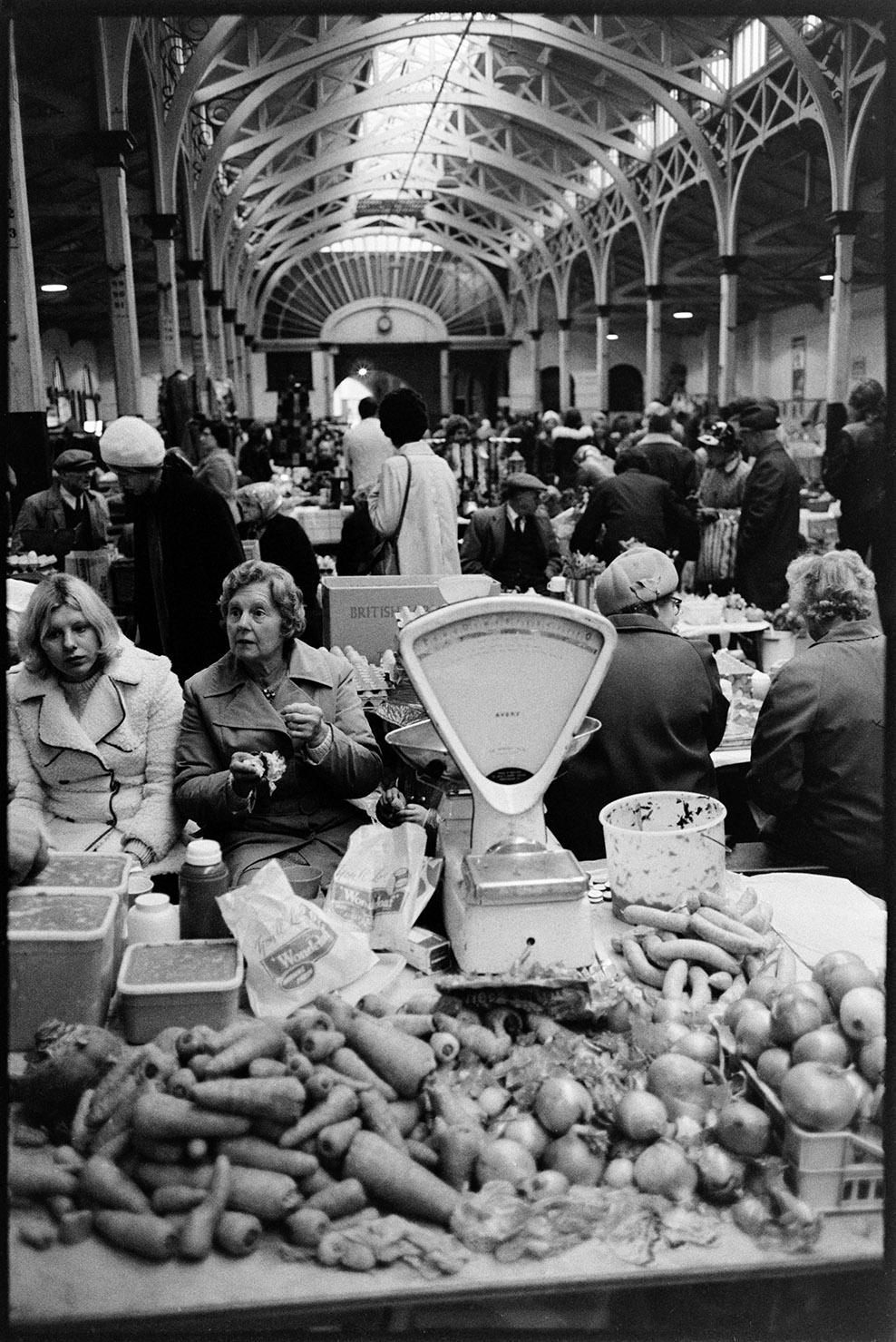 Pannier market with vegetables in foreground, Barnstaple, Pannier Market, 30 December 1973