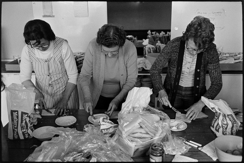 Women making sandwiches for Jubilee teaDolton Village Hall, 6 June, 1977