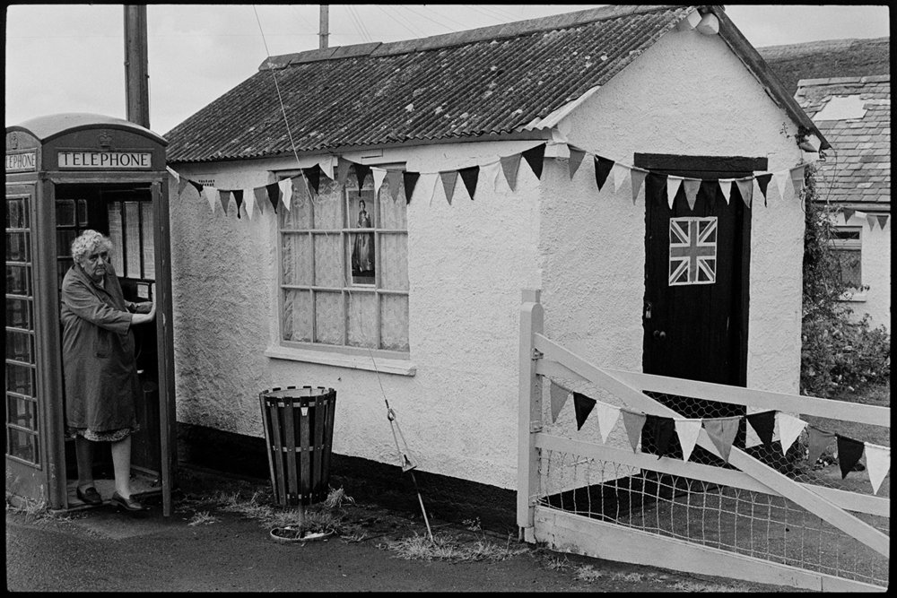 Decorated shed & telephone kiosk at Jubilee time, Kings Nympton, June 1977